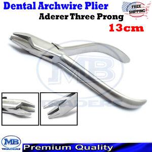 Dental Orthodontic Arch Wire Bending Three Prong Aderer Plier Triple Beak Pliers
