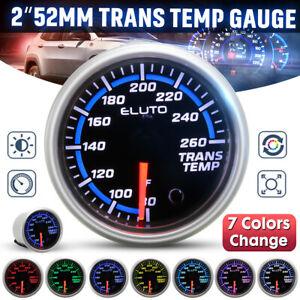 2'' 52mm 80-260°F Transmission Temperature Gauge Trans Temp Meter 7 Colors LED