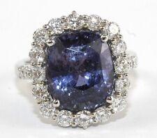 GIA Kissen-Schnitt Madagaskar Lila Saphir & Diamant Ring 18k Wg 12.87Ct keine