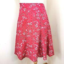 Jasmin Skirt Size 44 (16) Womens Pink Fuchsia Embroidered  A Line Midi Zipped