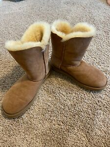 UGG Bailey Button II Women's Twinface Sheepskin Boots Tan US Size 6 NWOB