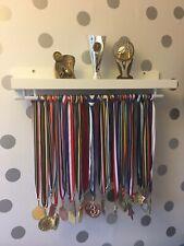 55cm WHITE DOUBLE Medal Hanger & Trophy Shelf Running Football Cricket Swimming
