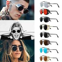 Vintage Round Metal Sunglasses Steampunk Mens Womens Punk Sunglasses UV400