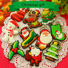 1Pc Xmas Tree Ornament Decor Party Holiday Christmas Santa Claus Car Keyrings