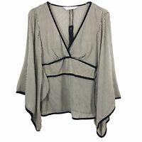 Trina Turk Womens Blouse Top Black White Pinstripe Empire Waist Flare Sleeves