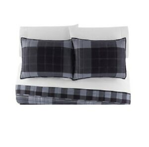The Big One Reversible Gray Plaid Quilted STANDARD Shams Set 2pc