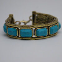 lucky brand jewelry turquoise bangle gold tone bracelet for woman