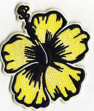 HIBISCUS, YELLOW - FLOWER - TROPICAL - HAWAII - Iron On Embroidered Patch