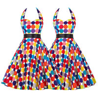 Womens 1950s Style Vintage Polka Dot Retro Pinup Swing Dress Party Prom Gown US