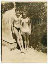 1960s Soviet Cute Man Shirtless Young Woman Swimsuit Nude Figure Russian photo