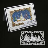 Stanzschablone Rechteck Schnee Haus Hochzeit Weihnachten Geburstag Karte Album