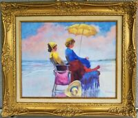 Signed Oil Painting Women Beach Scene on Canvas Schumacher 23.5 X 27.5 Ladies