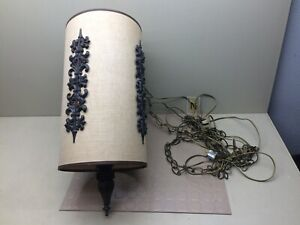 Vintage Fabric Hanging Lamp Shade Pendant Light Fixture & Chain