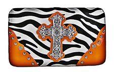 Womens Orange Zebra Studded Cross Leatherette Checkbook Wallet