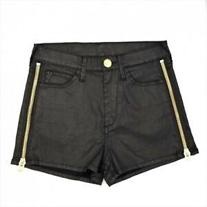 True Religion Shorts Ava Sz 26 Black High Rise Stretch Gold Zipper Logo Pockets