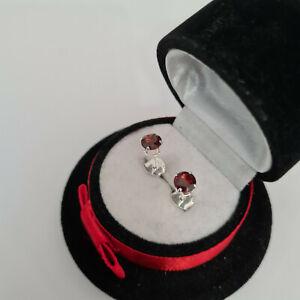 Beautiful Mozambique Garnet Stud Earrings in Sterling silver