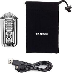 Samson Meteor Mic USB Studio Podcast Mikrofon silber Zubehör Set  unvollständig