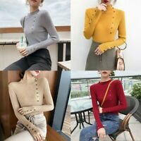 Women Turtle Neck Knit Sweater Jumper Tops Long Sleeve Loose Casual Blouse Shirt