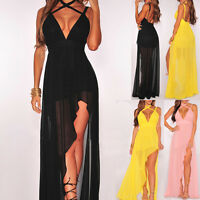 Sexy Women's Chiffon High Split Evening Party Long Maxi Dress Cocktail Gown Ball