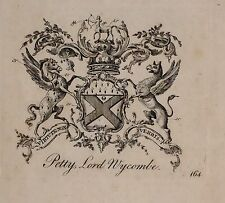 1779 ANTIQUE PRINT ~ PETTY ~ FAMILY CREST COAT OF ARMS LORD WYCOMBE