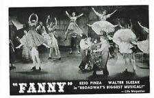 FANNY 1954 Broadway Musical Ezio Penza Majestic Theatre Un-posted Postcard
