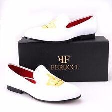 Handmade FERUCCI Men White Velvet Slippers loafers with Gold Crown