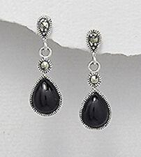 Sterling Silver Natural Genuine Onyx Teardrop Dangle Pushback Stud Earrings