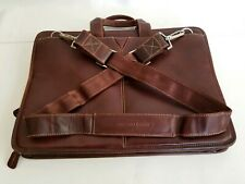Johnston & Murphy Leather Laptop Briefcase Slim Brown Adjustable Shoulder Strap