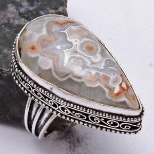 Crazy Lace Agate Ethnic Handmade Antique Design Ring Jewelry US Size-10 AR 40941