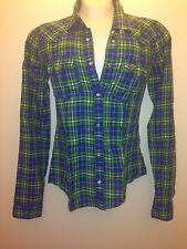 Hollister Bettys Women Button Down Plaid Shirt Green Point Dume XS, ExtraSmall