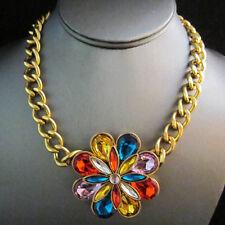 NEW Urban Anthropologie Sprectrum Multi Color Gem Crew Gold Chain Necklace