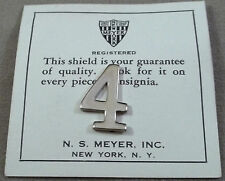 Vintage Military Bright Silver Numeral 4 / Pinback