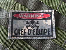 """SNAKE PATCH ..:: WARNING CHEF EQUIPE ::.. AIRSOFT PAINTBALL US """" ACU DIGITAL """""""