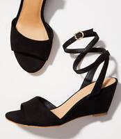 15c109bbb4552b Comfortview Ryann Black   White Natural Ankle Strap Wedge Sandals ...