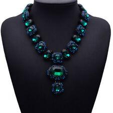 Grün Glas Strass Kette Statementkette Halskette Collier Modeschmuck schwarz neu