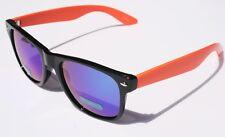 Rare Black Orange 80's vintage retro sunglasses with blue mirror lens wayfarer