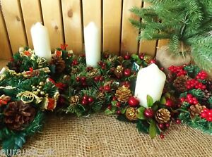 Pair Round Christmas Candle Rings / Mini Wreath Decoration Green Red Berry Set 2