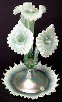 Fenton  Glass Willow Green Opalescent Epergne Frank Sig Centennial Collection