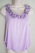 ROBIN K Flower Zipper Edges Tank Sleeveless Rayon Lilac Purple Lavender Sz S