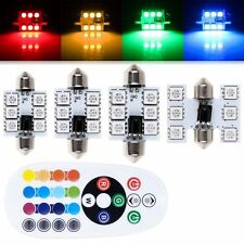 2PCS RGB Colored Car Interior Light 31/36/39/41MM Dome  Remote Control LED Bulbs
