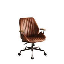 Office Chair Ergonomic Cocoa Grain Leather Computer Desk Chair Modern Rotating