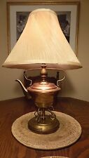 Vintage Copper Brass Tea Pot Table Lamp Late 1940s with Shade and lots of Charm