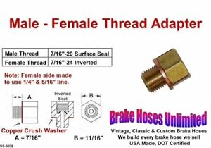 "Brake Line Thread Adapter - Male 7/16"" x 20 Surface, Female 7/16"" x 24 Inverted"