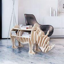 Wooden Rhino Home Decor Organizer Book Shelf Side Table Coffee Study Animal Wood