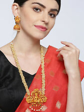 Indian Temple Jewelry Necklace Long Set Gold Tone Pearl Beaded Line Jhumki Pairs