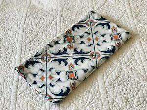 Pottery Barn Lyon Tile Organic Cotton Euro Pillow Sham ~ EUC Mediterranean Blue