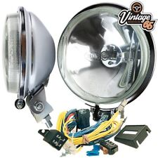 Morris Minor Oxford Classic Chrome Driving Lights Spot Lamps With Wiring Kit
