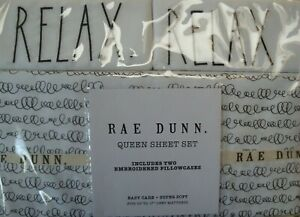 New Rae Dunn 4 Pc Shabby Chic Queen Sheet Set Embroidered RELAX White/Black