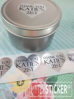 SILVER HEARTS Party Favour Labels Personalised Favour Stickers Thankyou seals 50