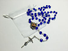 St Charbel Makhluf glass blue relic rosary,pt Maronite monk, priest from Lebano